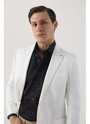 D'S Damat Ds Damat Slim Fit Beyaz Armürlü Kumaş Ceket Beyaz